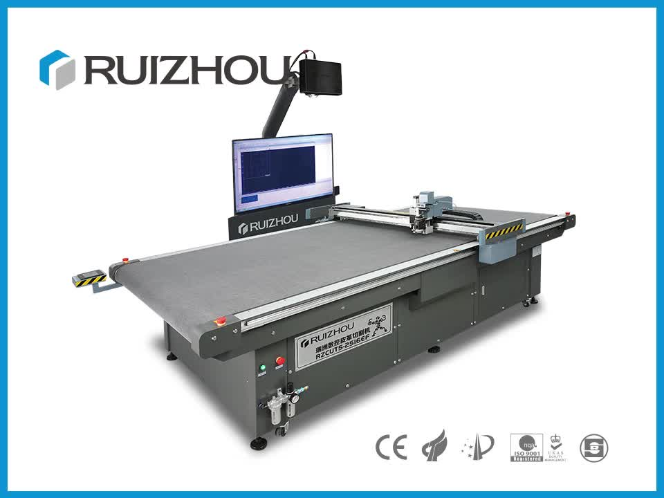 Automatic Leather Cutting Machine with Two Heads and Conveyor Belt