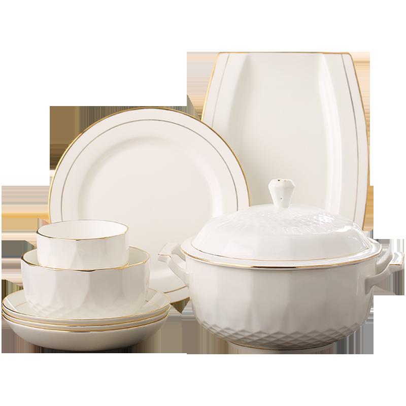 免洗骨瓷餐具套装高档轻奢碗盘组合描金欧式简约瓷器碗碟套装家用