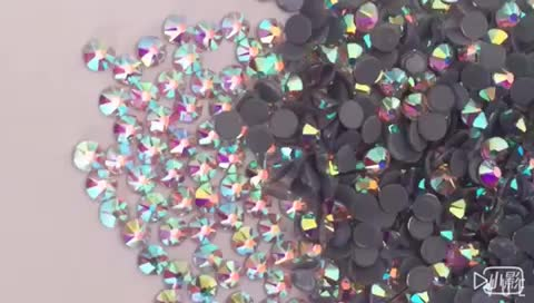Newest Design 16 face cut 8 big 8 small facets high quality hotfix flat back rhinestones siam ab color strass