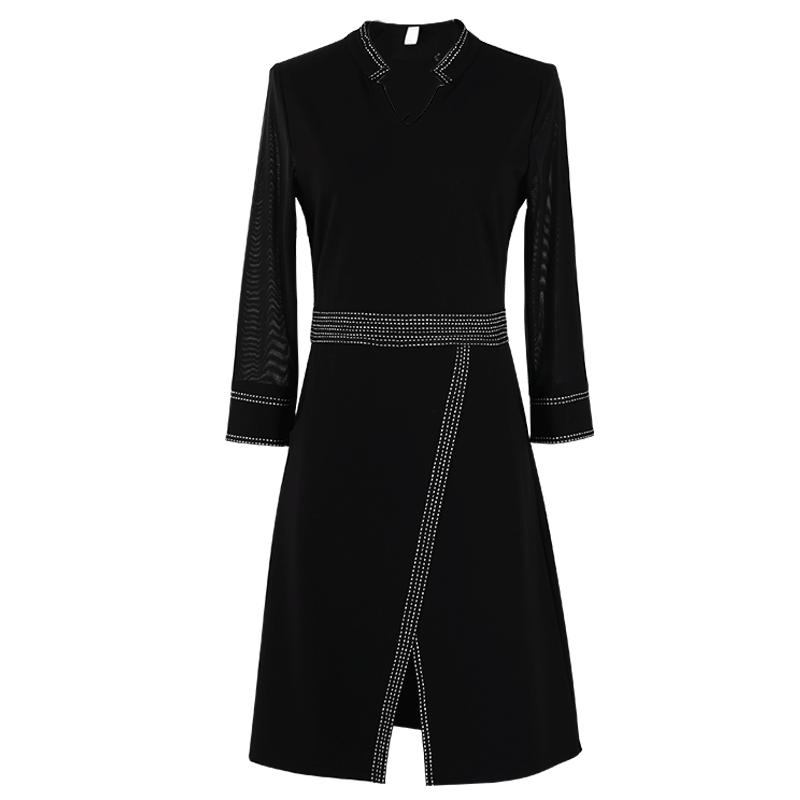 2019春季新款大码女装前开叉连衣裙腰粗遮肚子收腰显瘦长裙200斤