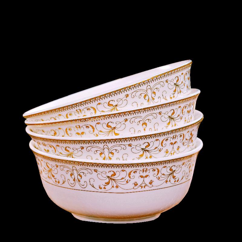 景德镇陶瓷面碗家用吃饭碗中式碗碟套装大汤碗泡面碗蒸菜碗4个装