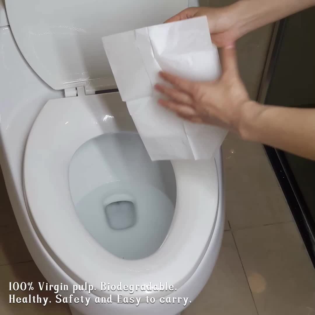Eco-Friendly Travel Pack  Disposable Waterproof Paper Toilet Seat Covers for Public Restroom