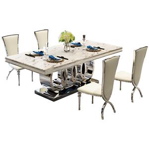 天然大理石餐桌現代長方形吃飯桌子