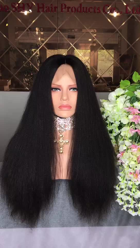 2019 new arrival brazilian human hair yaki straight lace front wigs black hair for women's