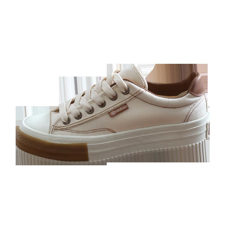 人本松糕复古古铜色色帆布鞋女学生板鞋厚底网红鞋子潮鞋超火女鞋