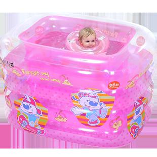 諾澳 充氣方形粉色公主嬰兒游泳池家庭嬰幼兒童寶寶游泳桶洗澡桶