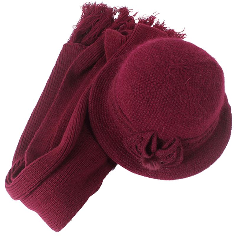 冬季中老年帽子女兔毛针织毛线帽老人帽子保暖妈妈盆帽奶奶围巾