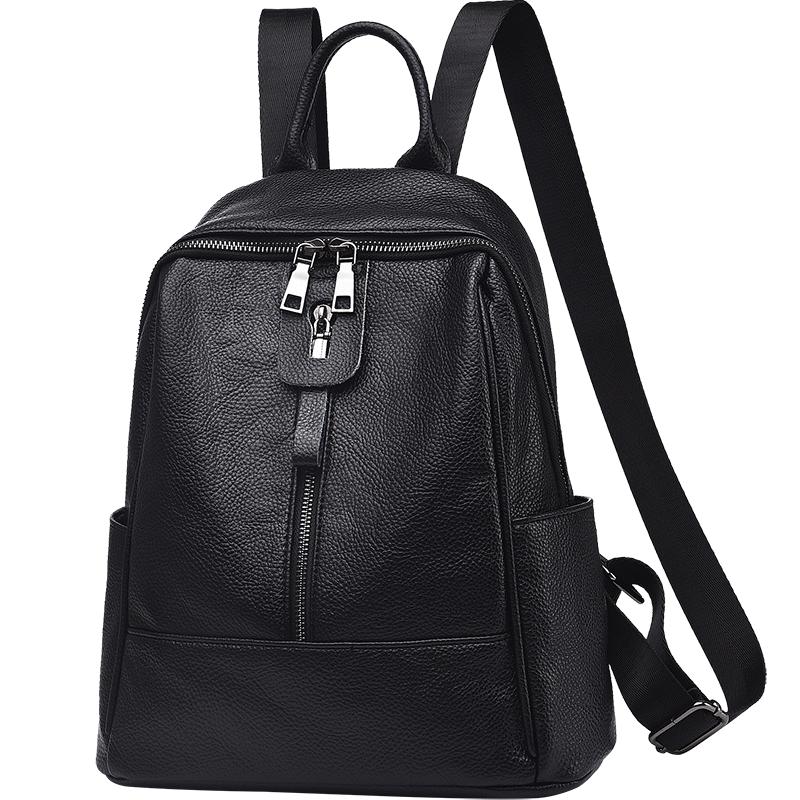 双肩包女2020新款韩版百搭软皮包大容量妈妈中年妇女旅行两用背包