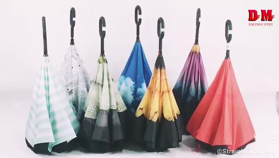 Red Reverse Folding Double Layer Guarda Chuva Inverted Umbrella Self Stand Inside Out Rain Proof For Car