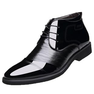 冬季加绒男士真皮尖头系带休闲棉鞋