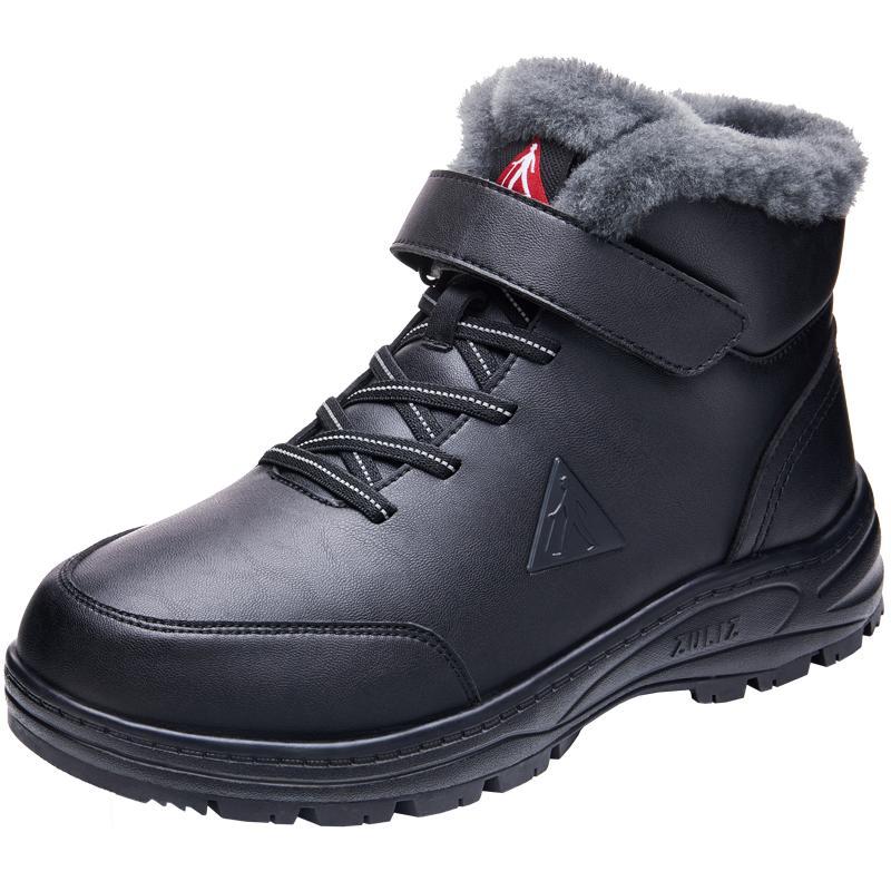 足力健老人鞋旗舰店爸爸运动男鞋冬季加绒保暖防滑老年高帮羊毛鞋