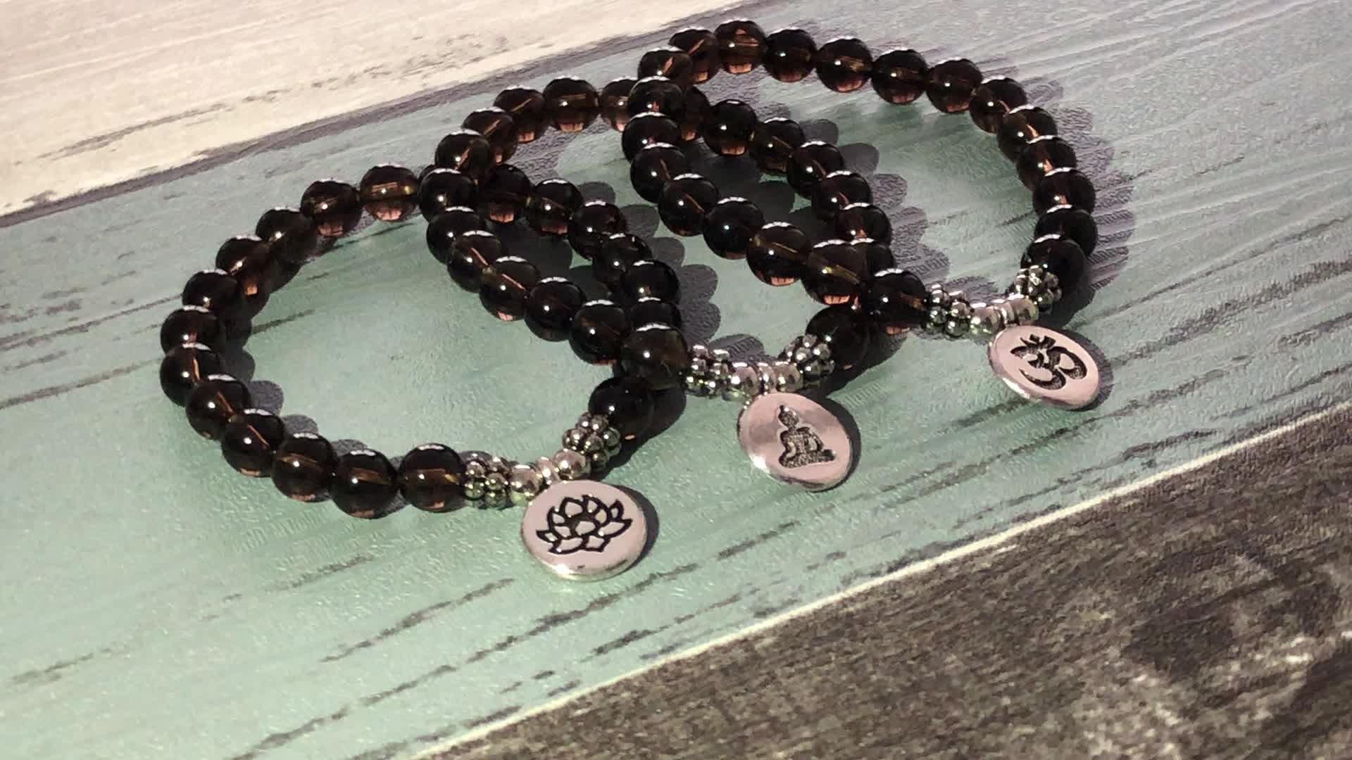 SN1328 Men Women Japa Mala OM Bracelets Lotus Buddha Yoga Charm Wrist Smoky quartz Beaded Bracelet Boho Yoga Jewelry