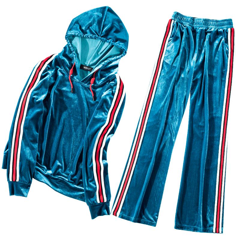 时尚运动服休闲秋季套装金丝绒阔腿裤2019新款欧洲站洋气两件套女