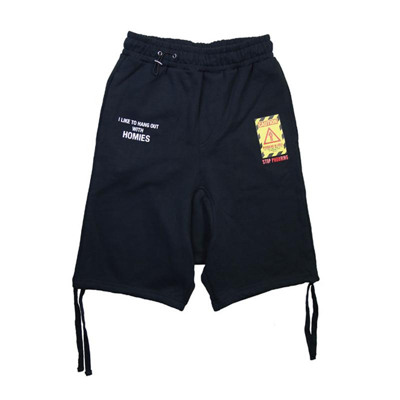 KXTOYS原创设计MRHERO潮牌男装夏纯棉宽松拉绳休闲黑色短裤运动裤