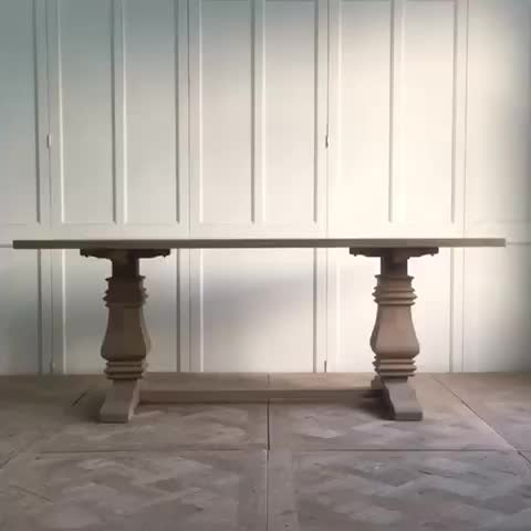 French rustic  reclaimed solid  wooden furniture dining table
