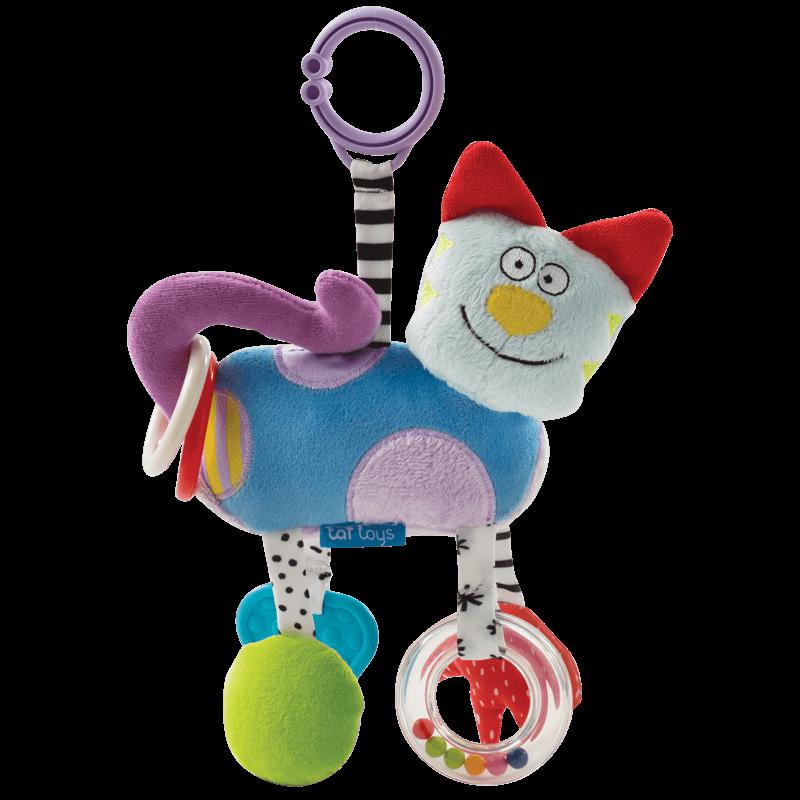 以色列TAFTOYS毛绒玩具挂件婴儿牙胶摇铃婴儿玩具0-3月抓握训练
