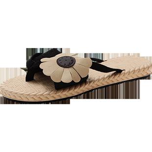 人字拖鞋女外穿夾腳小花涼拖女夏海邊時尚ins潮防滑沙灘鞋可下水