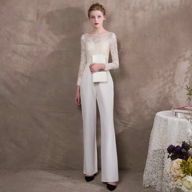 2018 New style Elegant Embroidery Banquet bobtail evening prom pants dress
