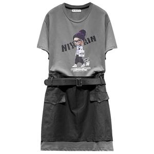 2021夏季新款圆领短袖印图连衣裙