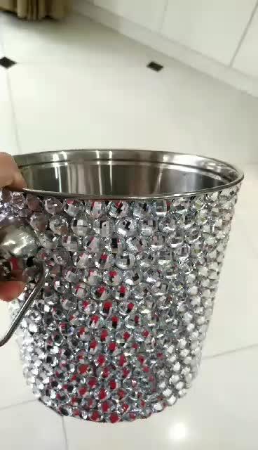 stainless steel ice bucket with rhinestone