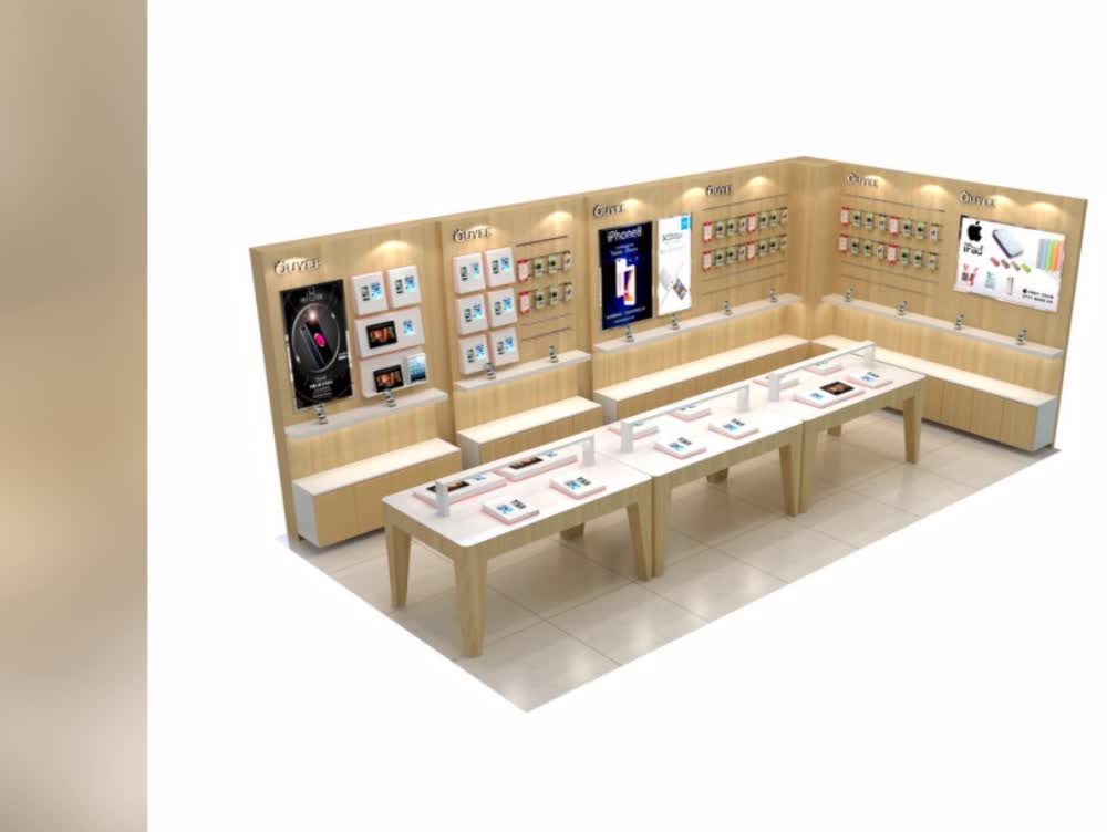 High end wooden mobile decoration ideas display furniture for High end furniture shops