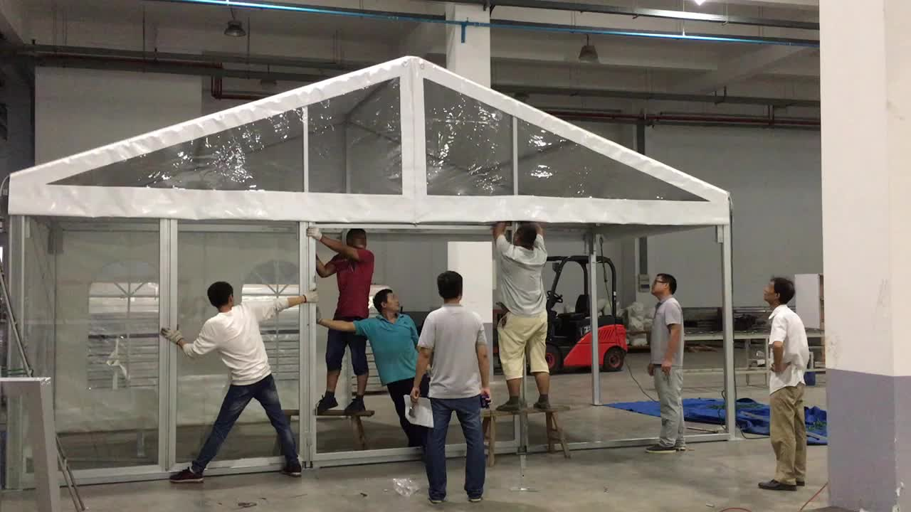big aluminium tent with double coated PVC clear transparent covers for event, party, wedding, exhibition
