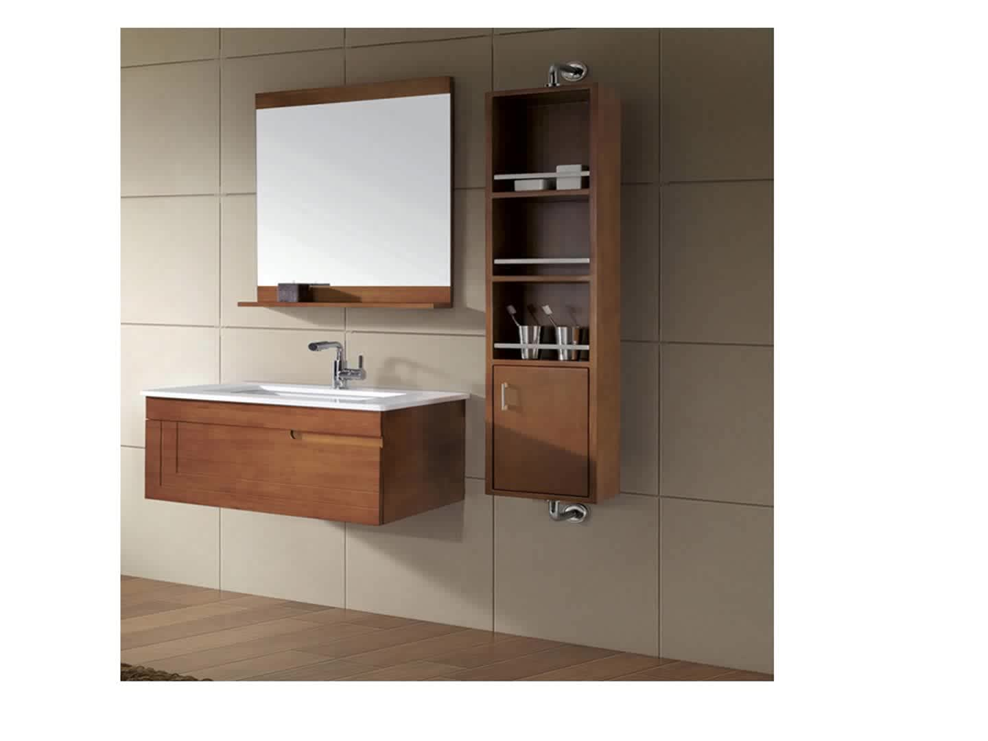 Triple Sink L Shaped Bathroom Wall Cabinet Ready Made