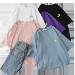 2020年女裝春季短袖t恤新款ins夏裝寬鬆學生韓版情侶裝半袖上衣潮