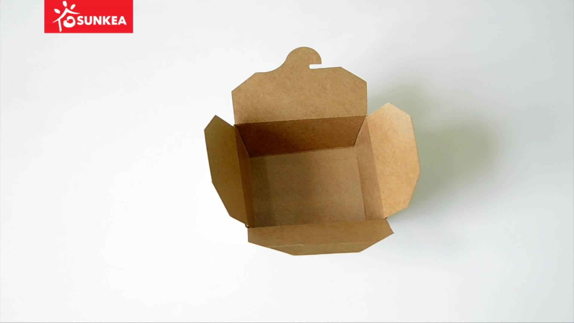 Descartáveis impressos personalizados caixa de papel kraft de alimentos almoço para alimentos