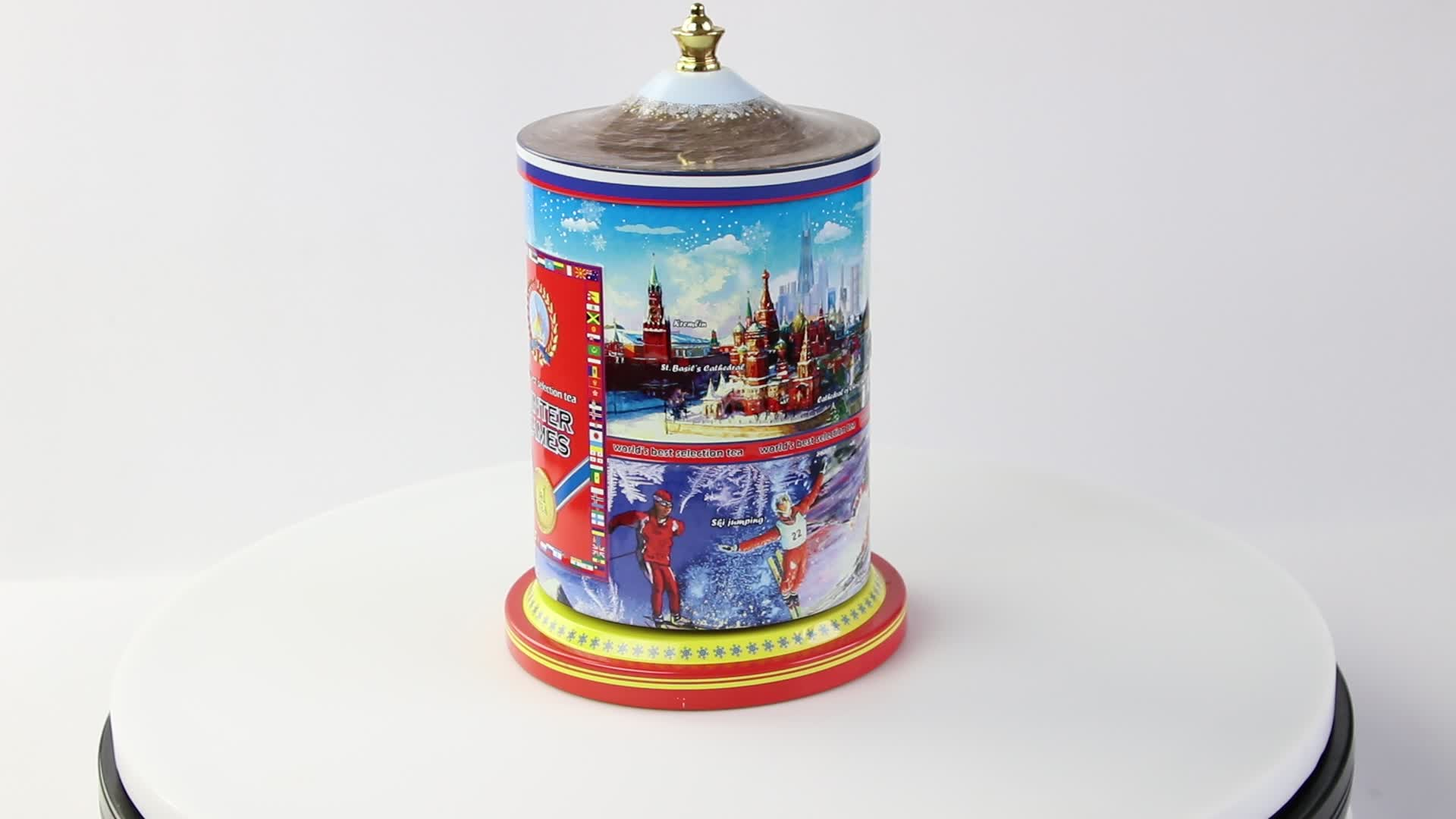 custom song metal tin music box with hand cranked