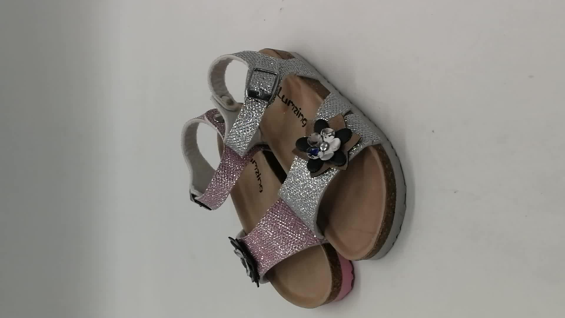 Proper Price Top Quality Nice Little Girls Nude Beach Flowers Sandals Bow  Patent Metallic Mesh PU