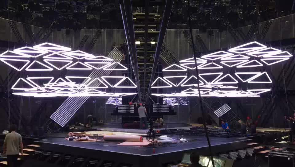 Dmx Control Lifting Stage Lighting RGB Color Led Kinetic triangle tube light  wave effect