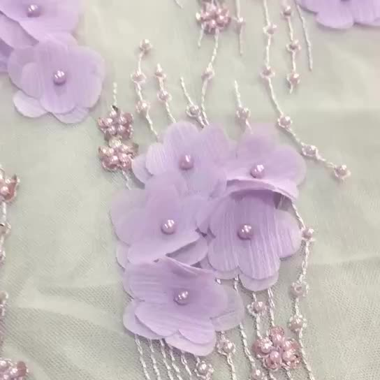 Best sale polyester 3d floral embroidery lace fabric for women dress