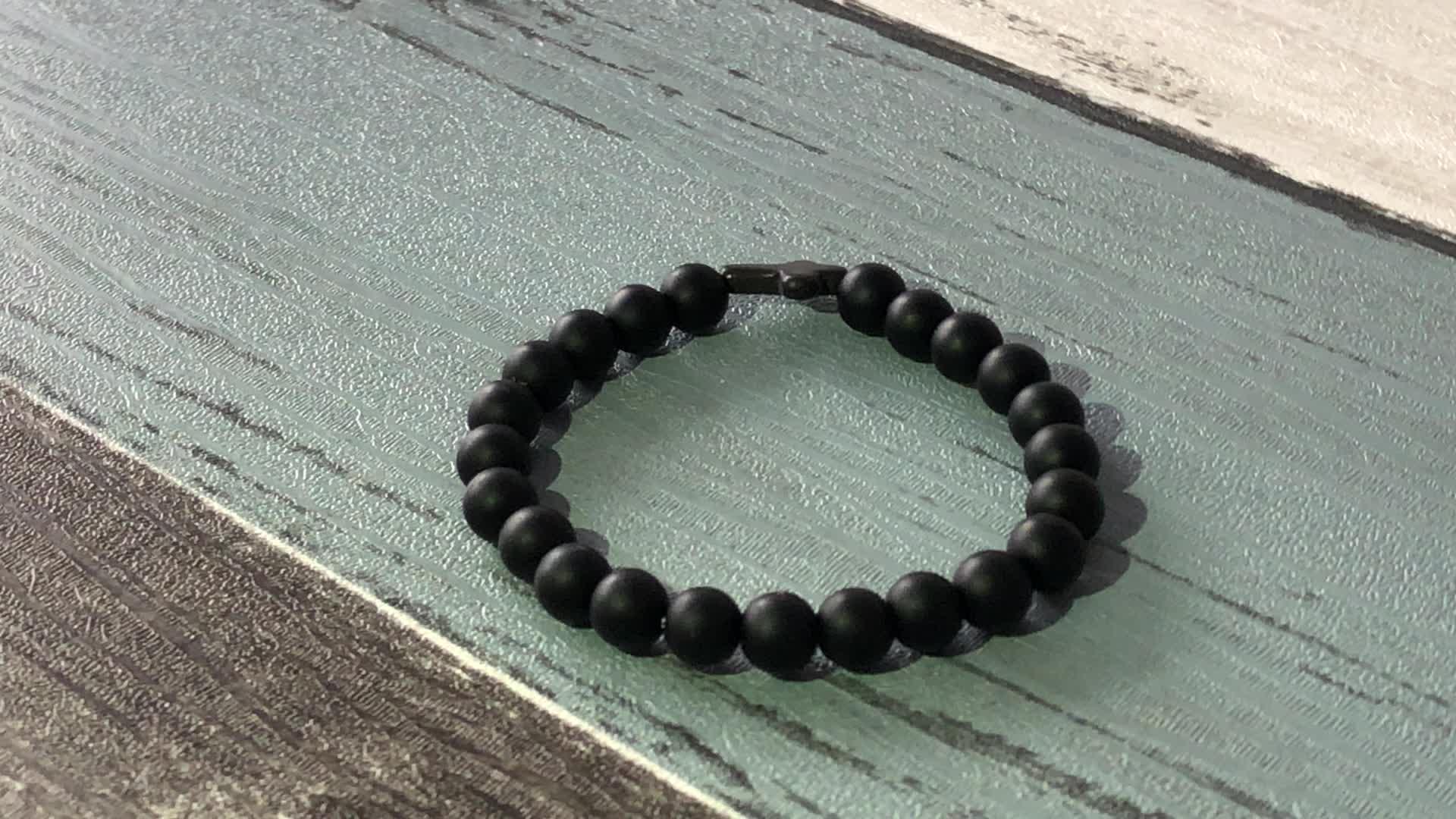 SN0060 Hand Work Matte Black Onyx Beaded Bracelets Matte onyx Cross Bracelet for men