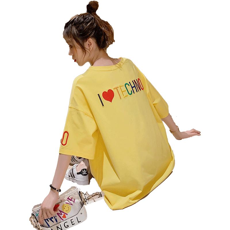 超火cec心机宽松夏装短袖刺绣t恤