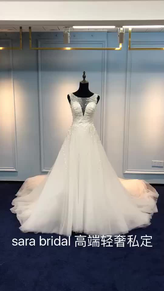Ball gown V-neck train modern lace wedding dress sex