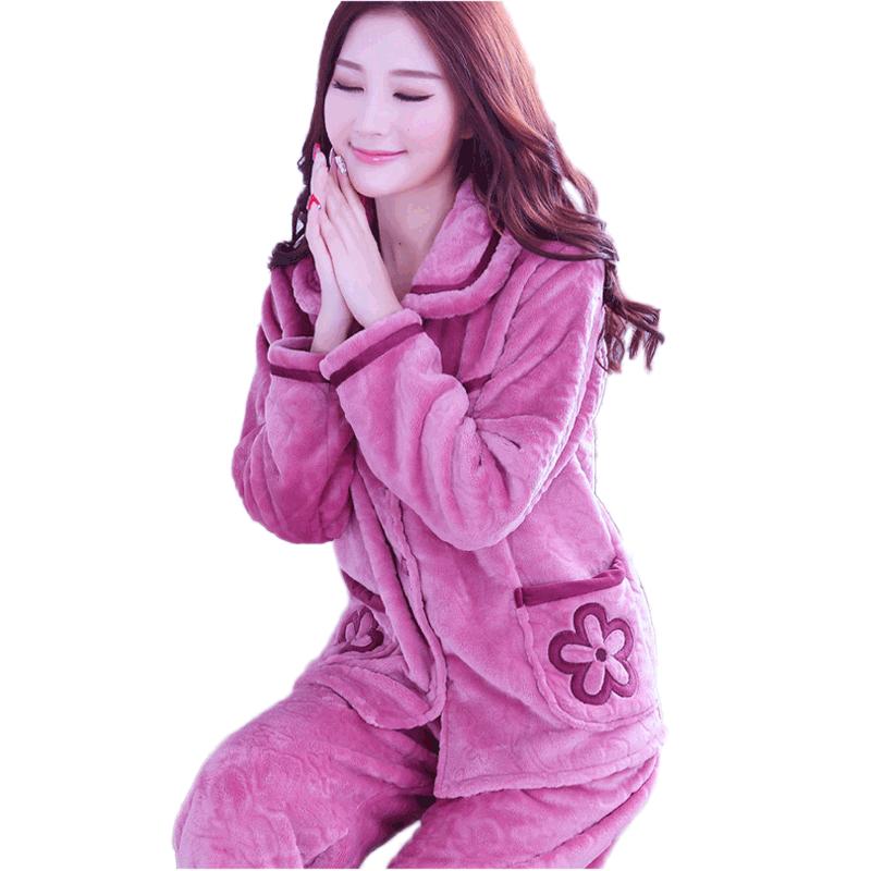 珊瑚绒睡衣女士秋冬季长袖加厚保暖2018新款法兰绒冬天套装家居服
