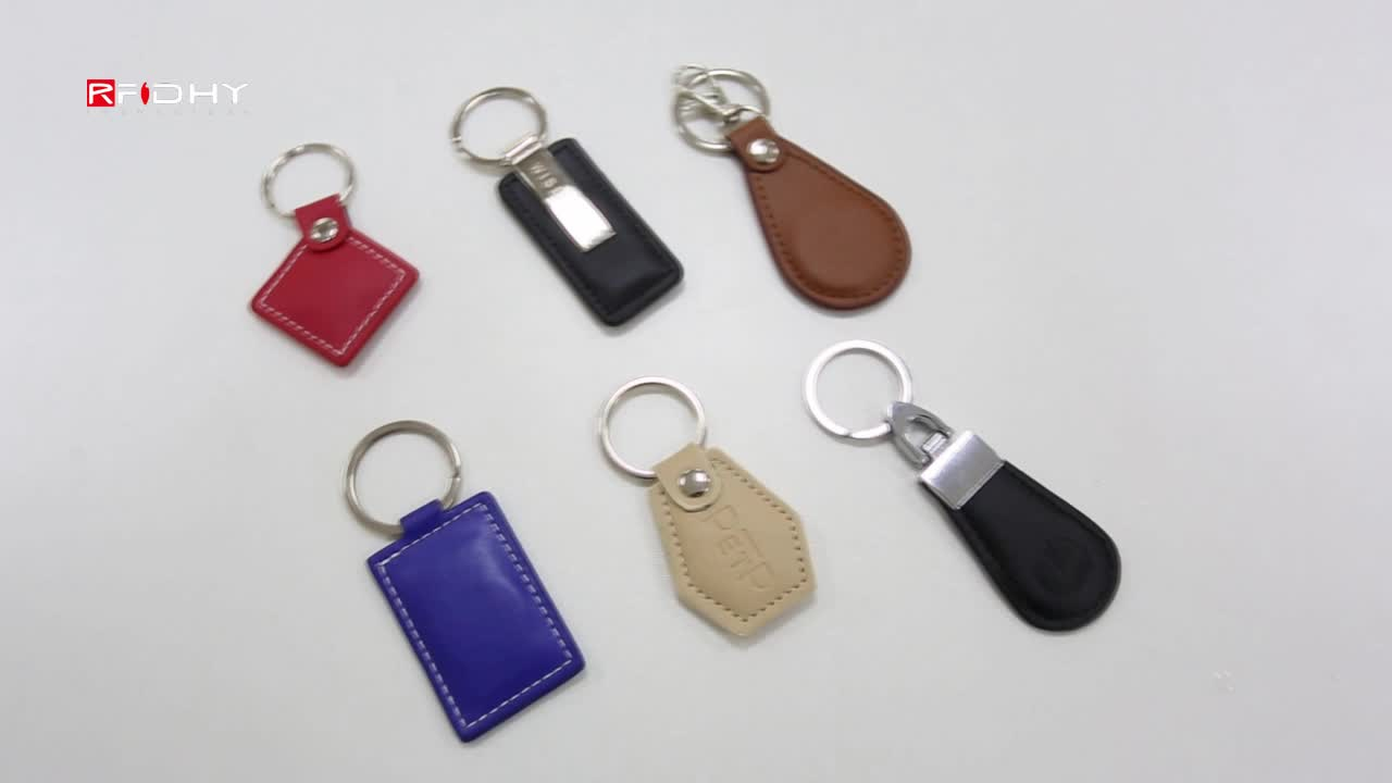 High Quality Custom Leather RFID keyfob , RIFD Leather key tag, Leather NFC key chain