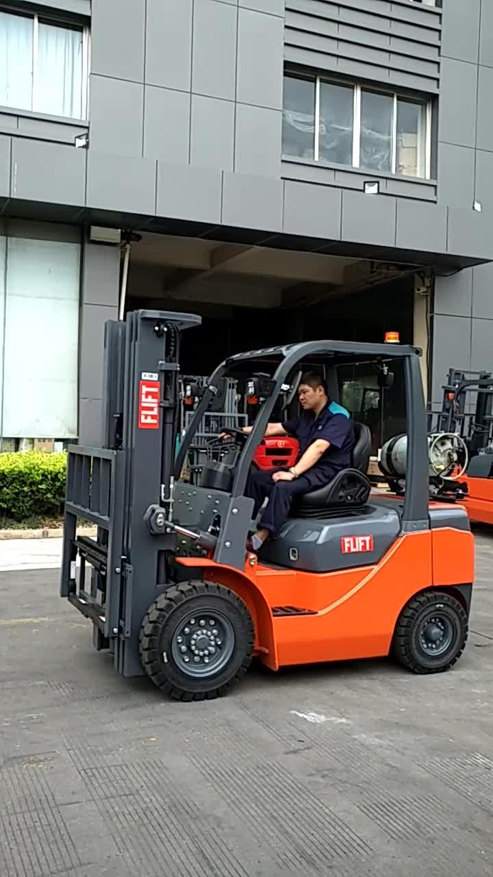 FLIFT gloednieuwe 3 ton lpg hand handleiding lpg vorkheftruck met Nissan k25 motor en side shifter