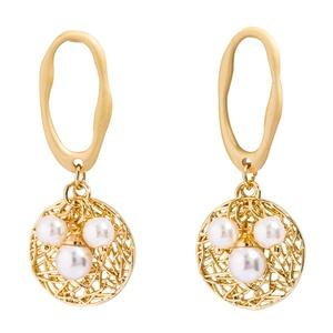小众设计感复古女珍珠装饰藤编耳环