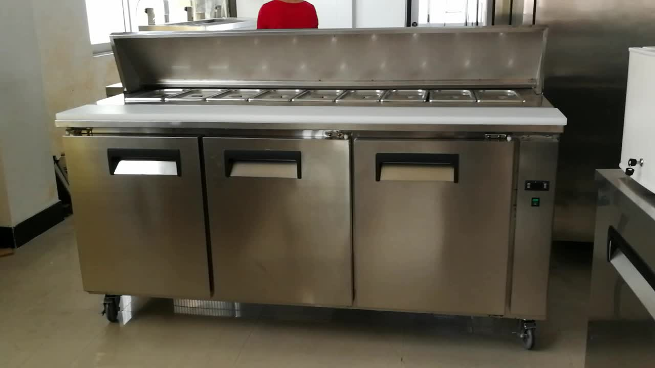 Work table pizza freezer bench storage cabinet kitchen restaurant use