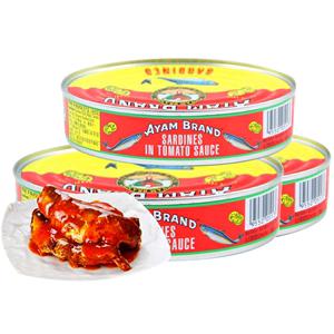 马来西亚进口雄鸡标番茄汁215g罐头