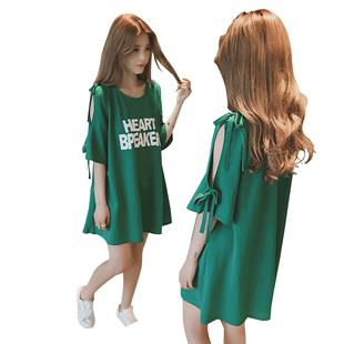 下衣失蹤寬鬆t恤裙女港風露肩中長款半截袖夏季韓版短袖上衣ins潮