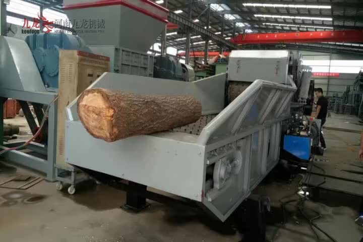 Dual blade rotor multi functional horizontal chain feeding conveyor 500mm diameter tree log drum wood chipper