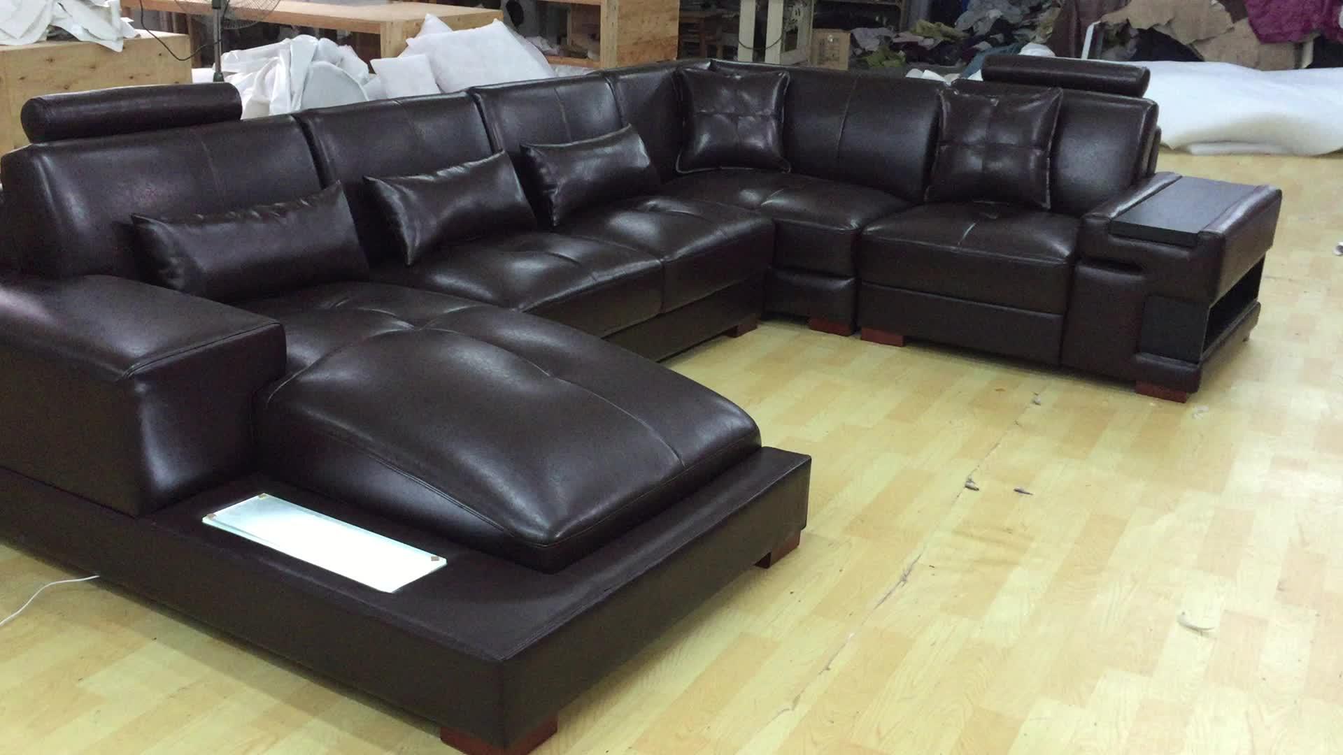 Venta al por mayor, muebles de sofá para sala de estar, a la moda, de China, con luz LED