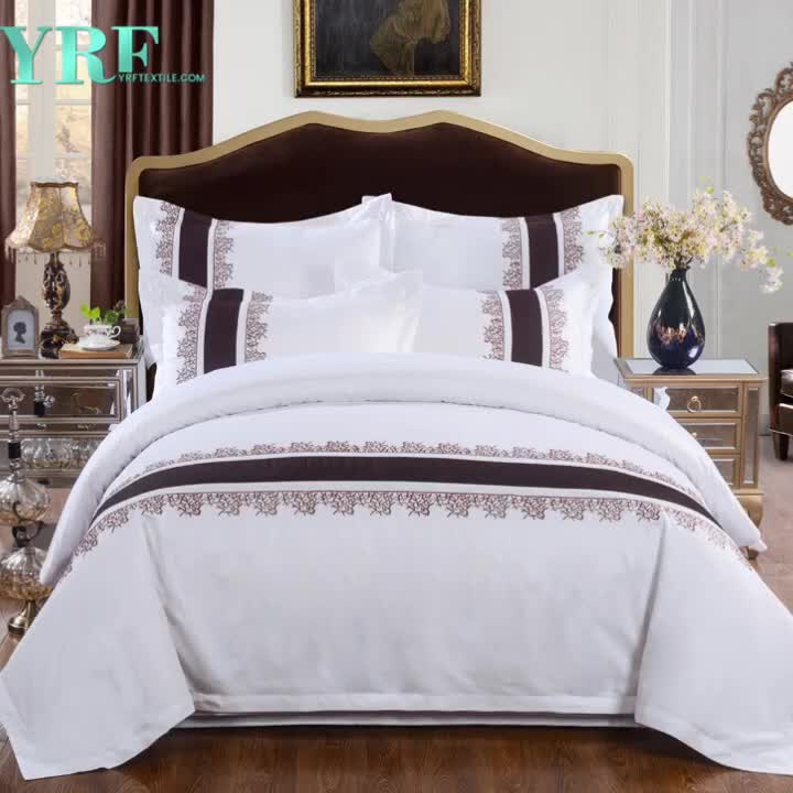 YRF 100% Cotton White Hotel Bed Cover Bedding Set