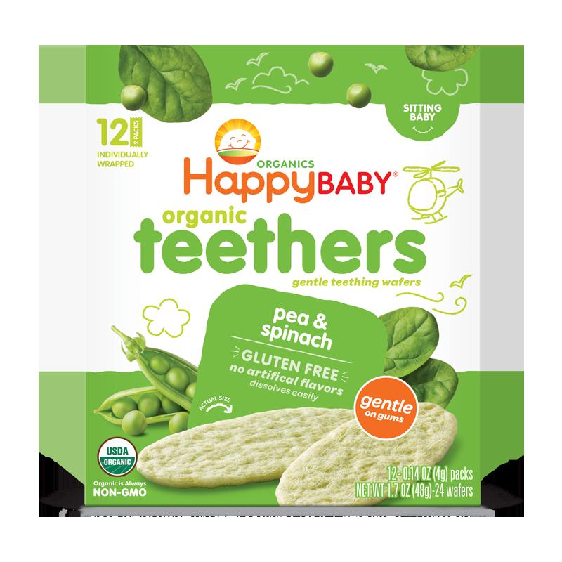 禧贝happybaby宝宝有机磨牙饼干豌豆菠菜味48g官方官网米饼婴儿
