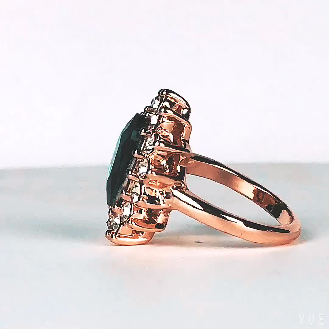 Caesar Faye Wong with the high quality jewelry color crystal gold finger ring new design for women gold ring