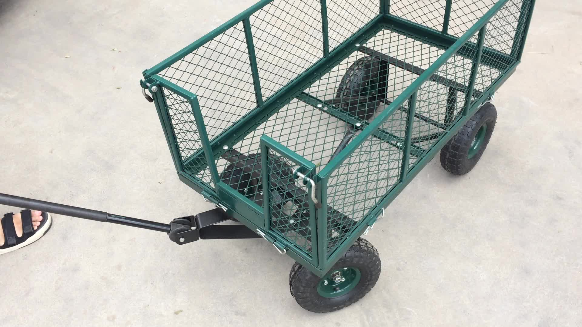Steel Wire Mesh Metal Folding Garden Wagon With Waterproof Cloth