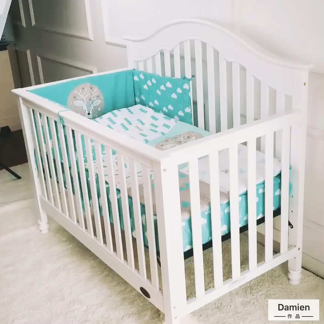 Green cartoon elk inkjet 100% cotton baby crib bedding set